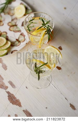Refreshing summer drink with lemon. Thirst-quenching water.