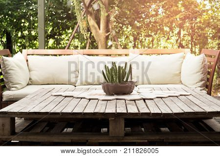 Wooden garden lounge chair with cushion and small cactus on the table in the garden with sunlight
