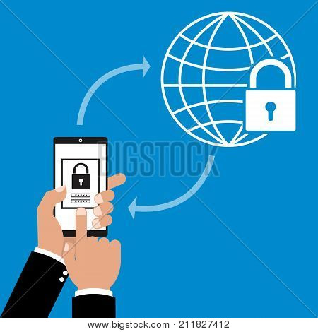 Businessman hand holding smart phone tablet with app VPN creation Internet protocols for protection business private network. Vector illustration technology business online concept.