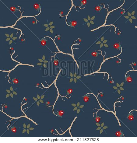 Seamless brier berry pattern on dark blue. Vector Illustration