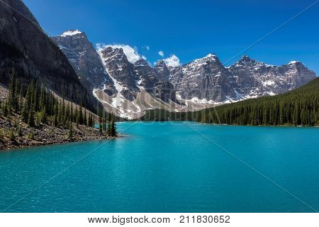 Turquoise waters of the Moraine lake in Rocky Mountains, Banff National Park, Canada.