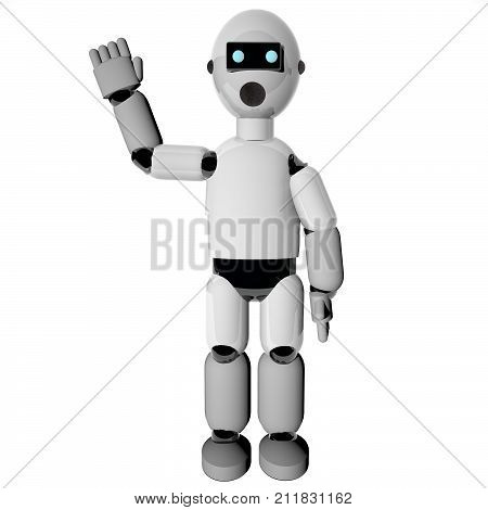Waving robot over white background, 3d rendering