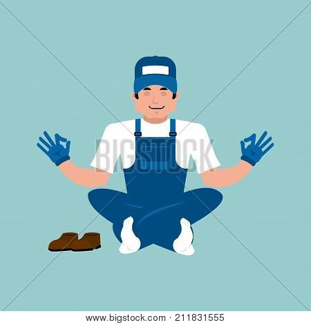 Plumber Yoga. Fitter Yogi. Service Worker Serviceman Relaxation And Meditation. Vector Illustration
