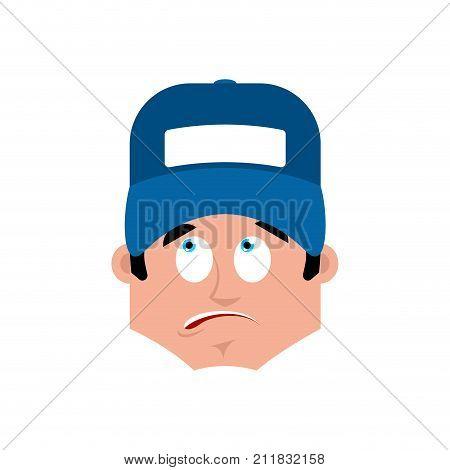 Plumber Surprised Emotion Avatar. Fitter Astonished Emoji Face. Vector Illustration