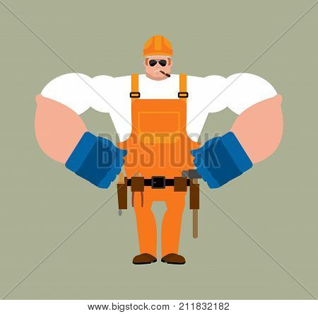Builder Strong. Worker In Protective Helmet Serious Powerful. Service Worker Serviceman Hard. Vector