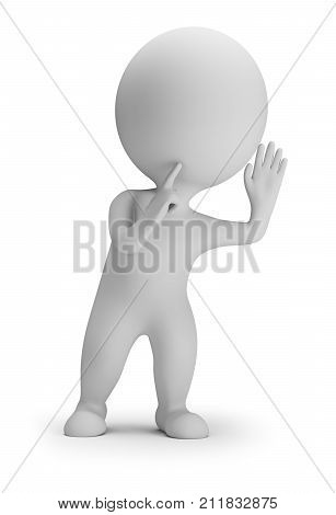 3d small person in an eavesdropping posture. 3d image. White background.