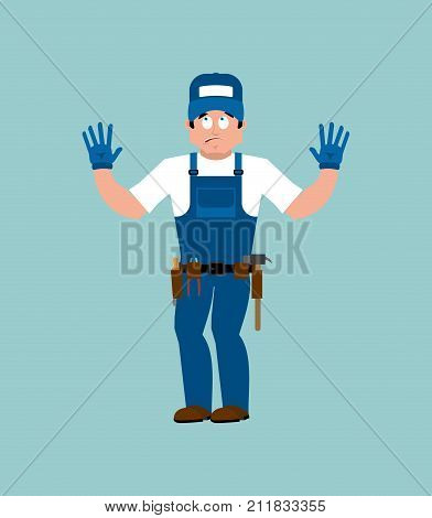 Plumber Guilty Oops. Fitter Culpable. Service Worker Serviceman Apologize. Vector Illustration