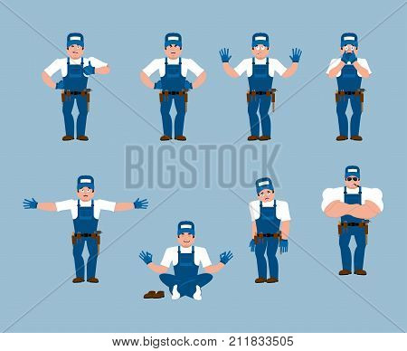 Plumber set poses and motion. Fitter happy and yoga. Serviceman sleeping and angry. Service worker guilty and sad. Vector illustration poster