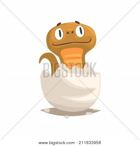 Cartoon brown snake newborn in broken egg shell. Baby animal hatching from egg. Little creature life. Flat tiny cub pet character birthday. Cute emoji vector illustration isolated on white.