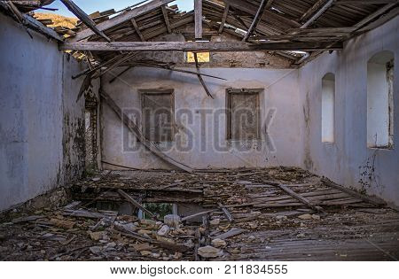 Interior Of Dilapidated Building. Ghost Town Old Perithia. Corfu. Greece.