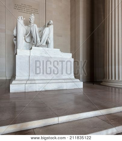 Lincoln Memorial interior in Washington DC, United States.