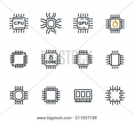Chipset, cpu line icons, microchip, 8 core processor, microcircuit