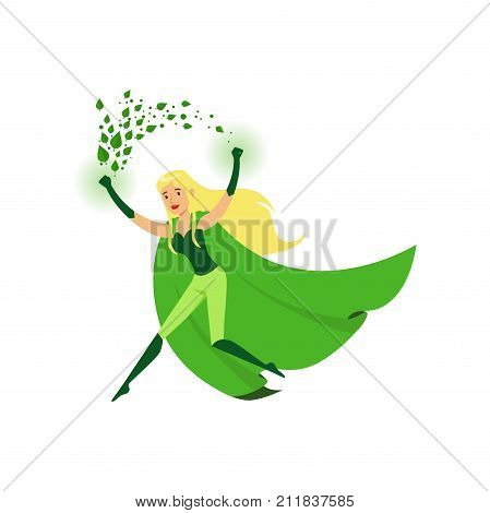 Cute eco superhero with super strength wind of leaves. Cartoon character girl in hero costume with green cape. Saving nature and ecology concept. Flat vector illustration isolated on white background.