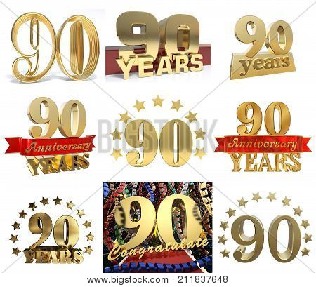 Set of number ninety years (90 years) celebration design. Anniversary golden number template elements for your birthday party. 3D illustration