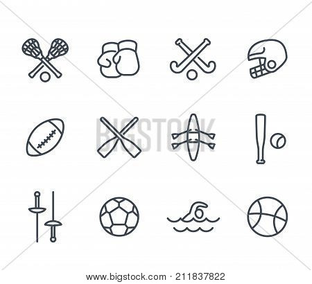 sports and games line icons on white, baseball, boxing, fencing, lacrosse, football