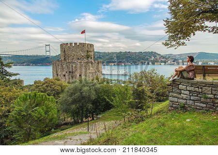 ISTANBUL, TURKEY: Rumeli Hisari fortress and the Fatih Sultan Mehmet Bridge on the Bosphorus on October 7, 2017
