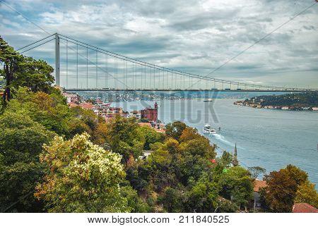 Rumeli Hisari fortress, Borusan Contemporary Perili Kosk and the Fatih Sultan Mehmet Bridge on the Bosphorus in autumn, Istanbul, Turkey