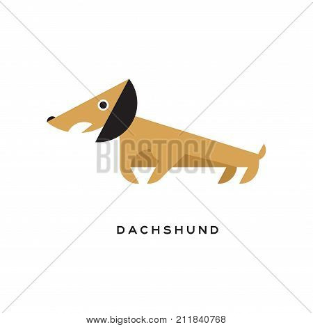 Cartoon brown dachshund puppy character isolated on white background. Small short-legged dog with long body and big black ears. Human s best friend. Hound-type dog breed. Flat vector illustration.