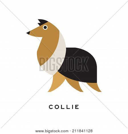 Cartoon collie character icon isolated on white background. Medium-sized tricolor long-haired pet with pointed snout. Home animal. Human s best friend. Type of herding dog. Flat vector illustration.