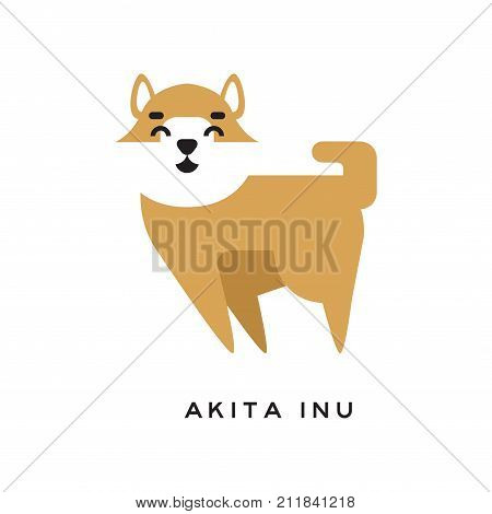 Cheerful cartoon akita inu character isolated on white. Large spitz dog breed. Cute doggie with brown fluffy-coat and white muzzle. Human s best friend. Flat vector illustration for kids print design.