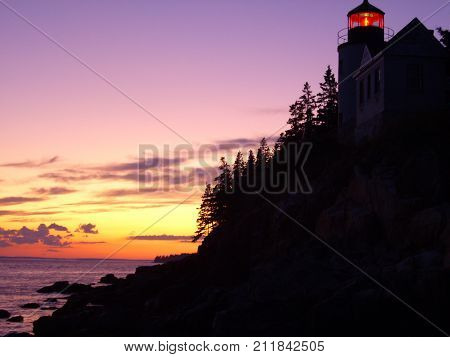 Bass Harbor Head Lighthouse at sunset in Maine, USA