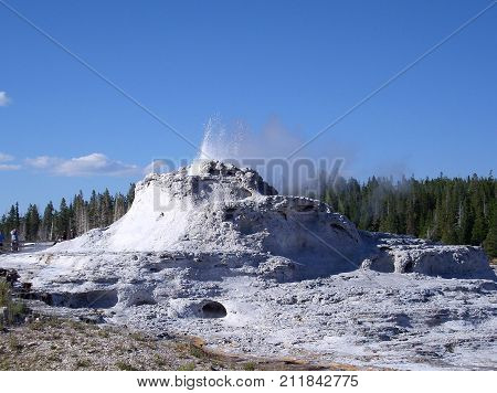 Castle Geyser in Yellowstone National Park. Wyoming, USA
