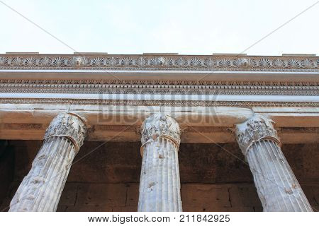 The Temple of Hadrian in Rome, Italy
