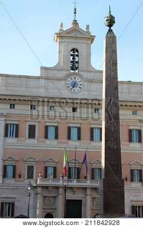 Montecitorio palace houses of the italian Parliament. Rome, Italy
