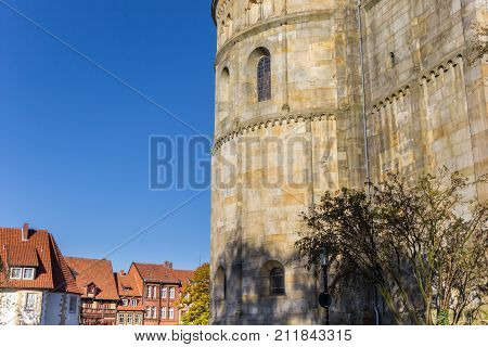 Historic Houses And Church Wall In Hildesheim