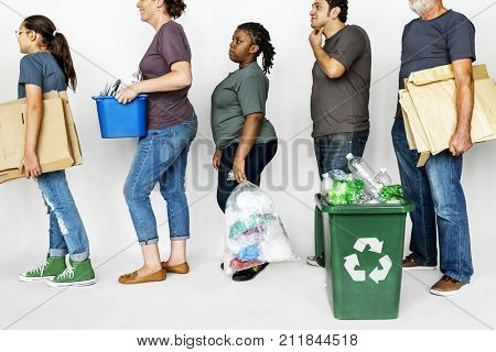 People with Recycle Trash Cans Environmental Friendly
