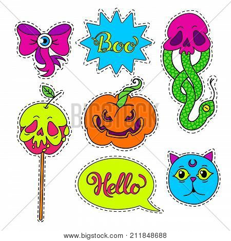 Vector set of Halloween Cartoon badge, sticker.Hand drawn set. Design Illustration.Patch or fashion pin badges.Stickers. phrases Hello, Boo.
