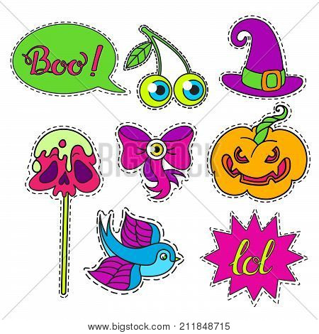 Vector set of Halloween Cartoon badge, sticker.Hand drawn symbols with skull, cherry, eye, witch hat, apple on a stick, bow, pumpkin, swallow.Design Illustration.Patch or fashion pin badges.Phrases Boo, LOL.