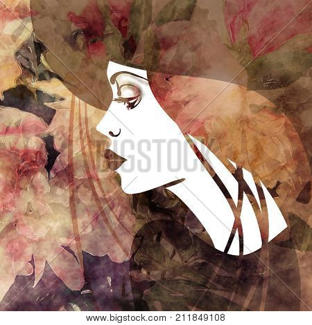 art colorful sketched beautiful girl face in profile in hat and long straight hair on red, purple, black and brown floral background in mixed media style