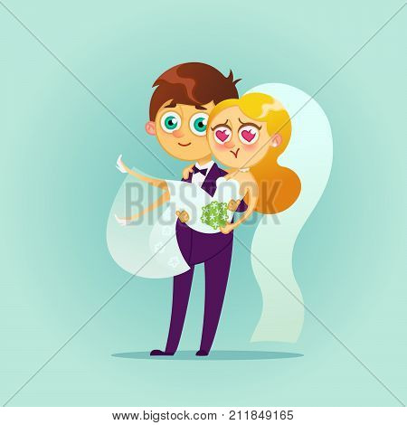 Happy wedding couple.Vector flat illustration.Bride and groom kissing.Romantic happy young lovers dating.Married design.Vectors modern character Valentine s day design item man and woman together.