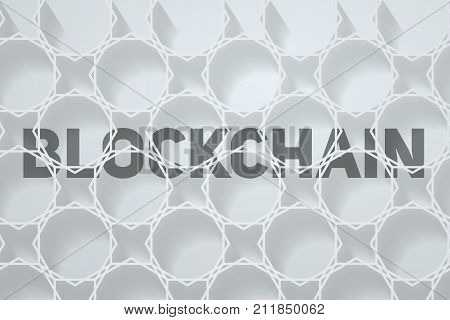 Light Background of Blockchain. Word Blockchain behind digital connection blocks. Vector Illustration.