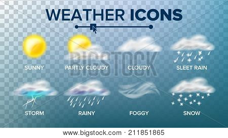 Weather Icons Set Vector. Sunny, Cloudy Storm, Rainy, Snow, Foggy. Good For Web, Mobile App. Isolated On Transparent Background