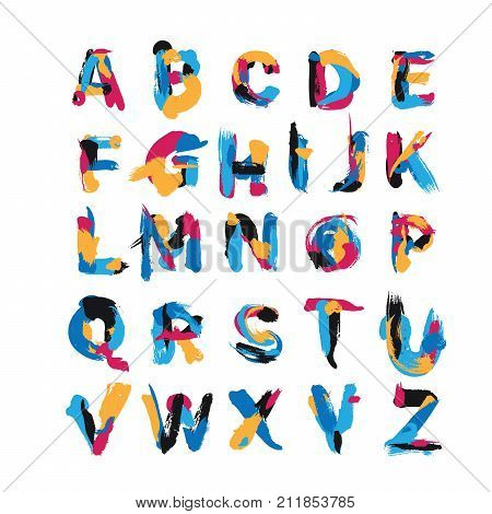 Vector set with hand drawn with brush spots and smears elements. Abc letters sequence from A to Z. English creative font good for lettering and logo writing.
