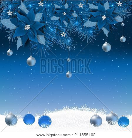 Christmas background with fir branch border and lights. Decorative Christmas festive background with Poinsettia flowers.Christmas border with trees balls stars and other ornaments
