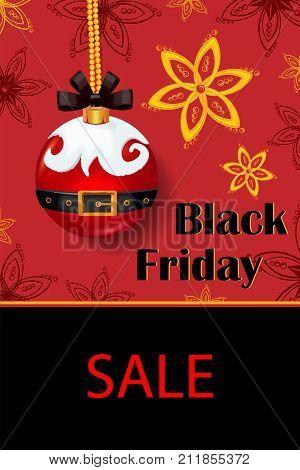 black Friday Christmas snowflakes stars Christmas ball Santa Claus poster sale