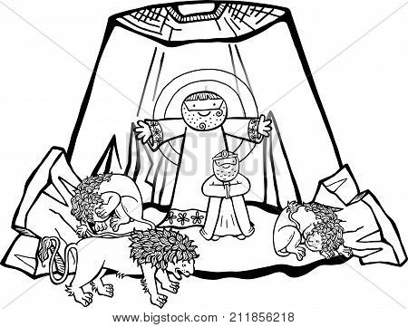 Cartoon illustration of Daniel in the lions den being delivered by an angel from the mouths of the beasts. This is the black and white version for coloring projects.