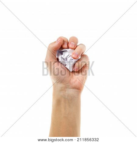 The Hand Holds A Lump Of White Paper. Isolated On White Background