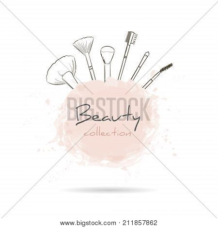 Beauty Collection With A Set Of Makeup Artist Brushes. Beauty Make-up And Cosmetics Background, Draw