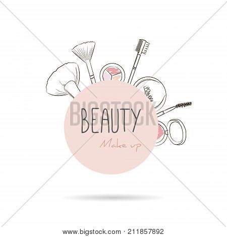Makeup Tools On Begie Circle Background. Vector Beauty Logo Or Label Design. Hand Drawn Illustration
