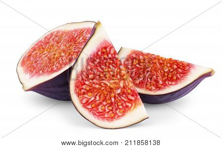 Fig isolated on white background.Food, Ingredient, Diet, Slice, Sweet, Juicy, Ripe, Cut