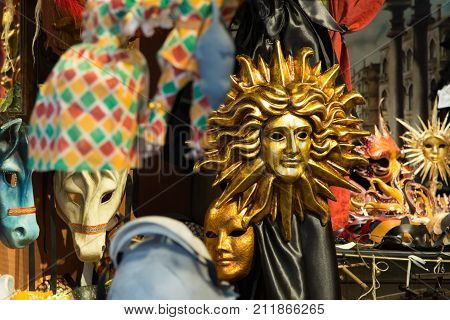 Venetian mask Italy. Venetian carnival masks souvenir shop on a street of Venice Veneto Italy. Venetian masks in store display in Venice. Decorative Venetian carnival mask.