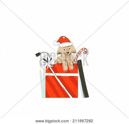 Hand drawn vector abstract fun Merry Christmas time cartoon icon illustration with mammal happy dog with Santa Claus hat in surprise gift box isolated on white background.