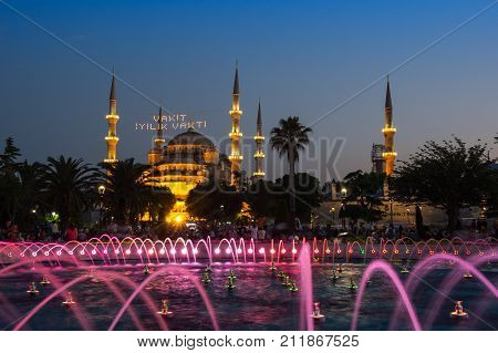 ISTANBUL TURKEY - JUNE 25 2015: Sultan Ahmet Mosque is a historic mosque in Istanbul Turkey. The mosque is popularly known as the Blue Mosque for the blue tiles adorning the walls of its interior