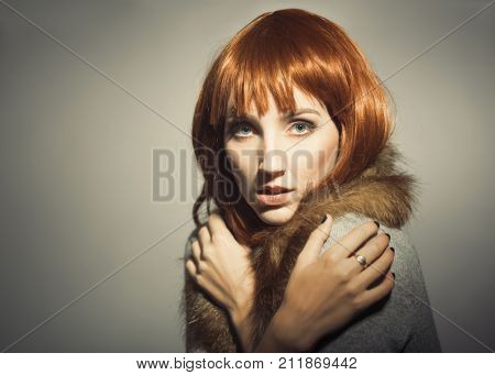 Young woman with sixties era fashion look - plenty of copy space for your text poster