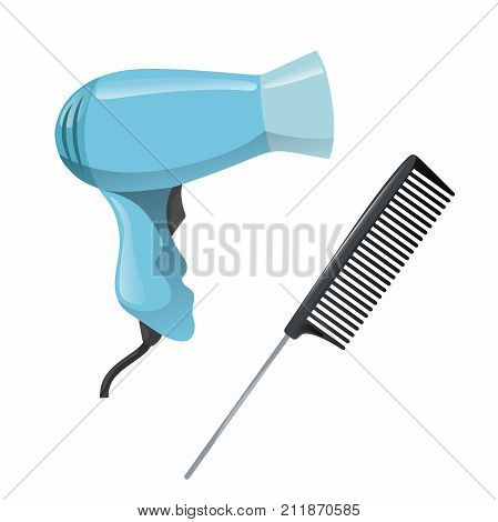 Cartoon trendy design hair styling equipment tool set. Plastic black hair comb with special long metal handle and electric hairdryer. Vector barber shop illustration icon collection. poster