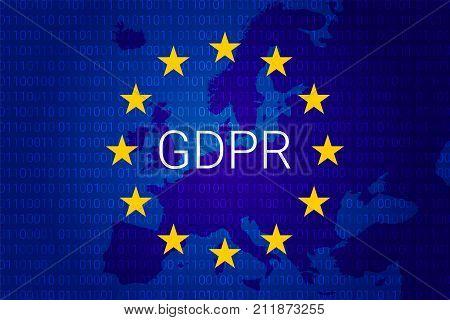 Gdpr - General Data Protection Regulation. Vector